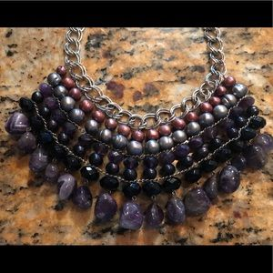 Jewelry - Sterling-silver amethyst  onyx pearl bib necklace